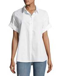 Mih Jeans Tuck In Roll Sleeve Cotton Shirt White