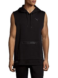 Puma Meek Sleeveless Cotton Blend Hoodie Black