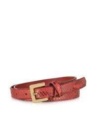 Forzieri Red Python Leather Skinny Women's Belt