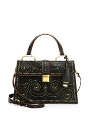 Miu Miu Studded Leather Top Handle Satchel Black