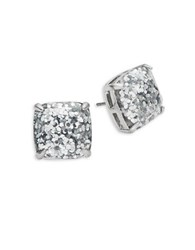 Kate Spade Glittering Square Stud Earrings Silver