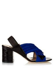 Chrissie Morris Crossover Suede Mules