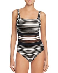 Gottex Regatta Square Neck One Piece Swimsuit Black Gold White