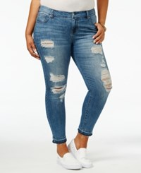 Celebrity Pink Trendy Plus Size Intensions Wash Ripped Jeans