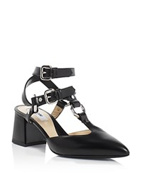 Moschino Pointed Toe Ankle Strap Pumps Black