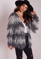 Missguided Cropped Mixed Hairy Cardigan Grey Grey