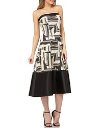 Kay Unger New York Strapless Colorblock Mikado Dress In Stretch Jacquard Black Multi