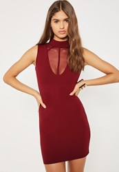 Missguided Burgundy Mesh Insert Harness High Neck Bodycon Dress