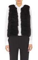 J. Mendel Sequined Back Fur Vest Black