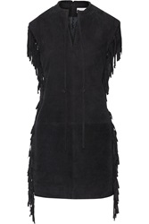 W118 By Walter Baker Kira Fringed Suede Dress Blue