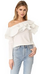 Stylekeepers Ruffle One Shoulder Top White