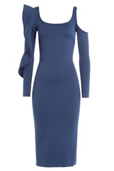 David Koma Dress With Cut Out Shoulder And Ruffled Sleeve Blue