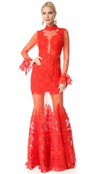 Jonathan Simkhai Linear Dome Lace Trumpet Gown Red