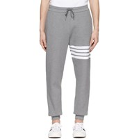 Thom Browne Grey Waffle Knit 4 Bar Sweatpants