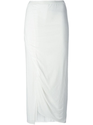 Rick Owens Lilies Draped Slit Skirt White