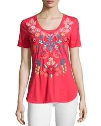 Jwla Floral Embroidered Scoop Neck Shirttail Tee Maraschino