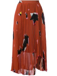 Proenza Schouler Pleated Embroidered Midi Skirt Polyester Yellow Orange