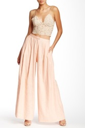 Champagne And Strawberry Wide Leg Linen Blend Pant Pink
