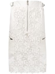 Sacai Zipped Lace Fitted Skirt White