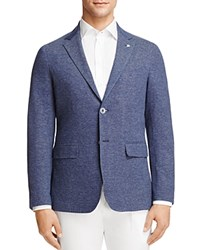 Canali Washed Tweed Regular Fit Sport Coat Blue