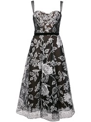 Marchesa Notte Floral Embroidered Flared Dress Black