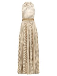Missoni Pleated Metallic Striped Knitted Gown Cream Gold