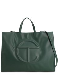 Telfar Large Embossed Faux Leather Tote Bag Dark Olive