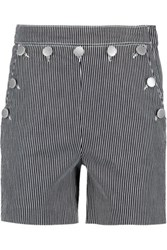 Maje Buttoned Striped Denim Shorts Gray