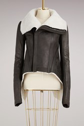 Rick Owens Shearling Biket Jacket Black Milk