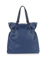 Tomas Maier Leather Tote Bag Blue