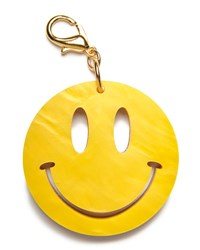 Edie Parker Happy Face Bag Charm Yellow Gold Yellow Go