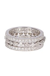 Sterling Forever Sterling Silver Three Row Cz Band Ring Set Of 3 Metallic