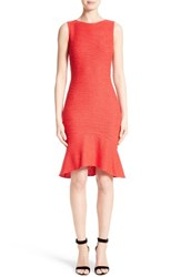 St. John Women's Collection Ribbon Knit Flounce Dress