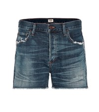 Citizens Of Humanity Cora Distressed High Rise Denim Shorts Blue