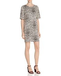 Suncoo Caleb Leopard Print Shift Dress Beige