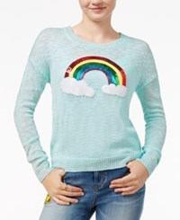 Almost Famous Juniors' Sequined Rainbow Graphic Sweater Mist Green