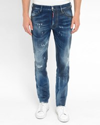 Dsquared Blue Stone Washed Cool Guy Coated Destroy Studded Pockets Jeans