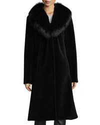 Belle Fare Long Single Button Sheep Fur Coat W Fox Collar Black