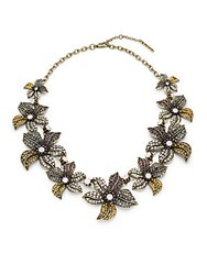 Saks Fifth Avenue Fall Floral Necklace Brass