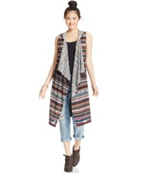 Almost Famous Juniors' Printed Hooded Vest Duster