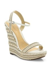 Schutz Carminda Leather Trimmed Platform Wedge Sandals White Natural