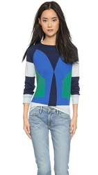 Cynthia Rowley Colorblock Cashmere Sweater Blue Combo
