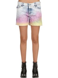 Zadig And Voltaire Tie Dyed Cotton Denim Shorts Blue Multi