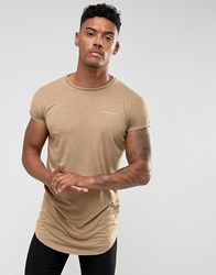 Illusive London T Shirt In Stone With Rolled Sleeves Stone