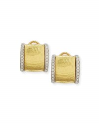 Vendorafa Hammered Square Earrings With Diamonds In 18K Gold