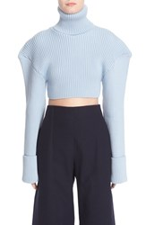 Jacquemus Women's Cropped Football Shoulder Turtleneck Sweater