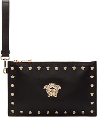 Versace Black Leather Pouch With Medusa Studs
