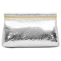 Reiss Kyla Cracked Leather Clutch Bag Silver