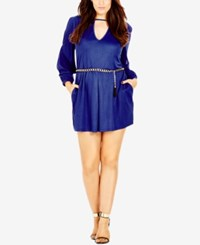 City Chic Plus Size Long Sleeve Cutout Romper Cobalt