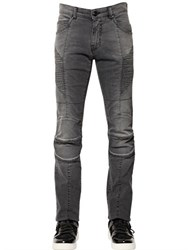 Balmain 15.5Cm Faded Stretch Denim Biker Jeans